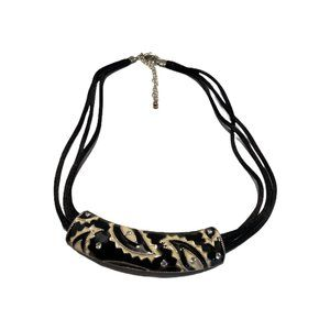 Black & White Bib Choker Necklace